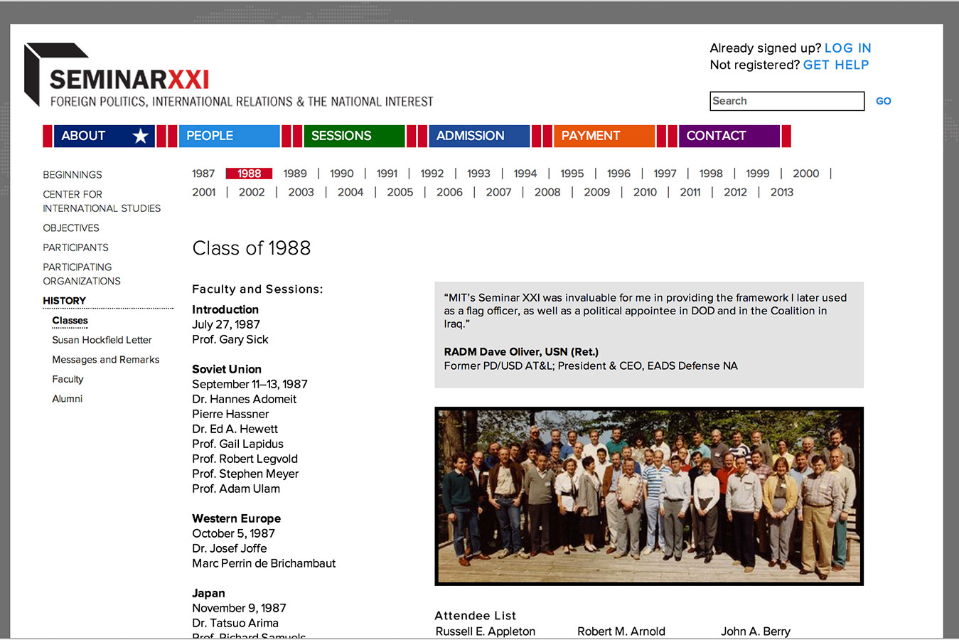 Seminar XXI history